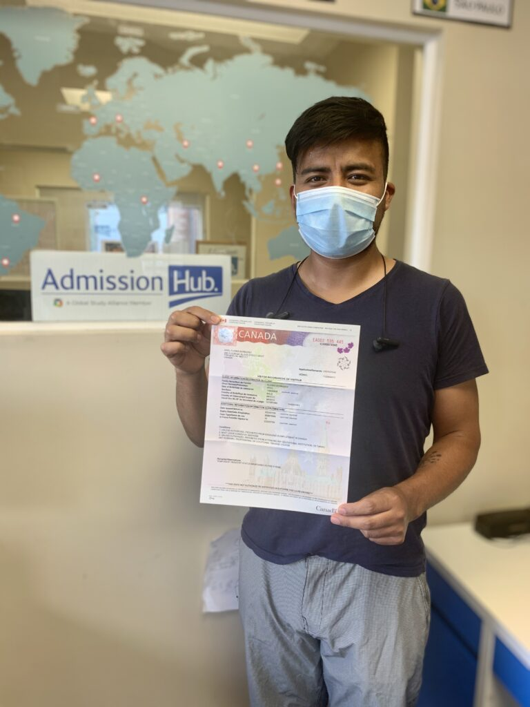 Student get study permit from Canadian college